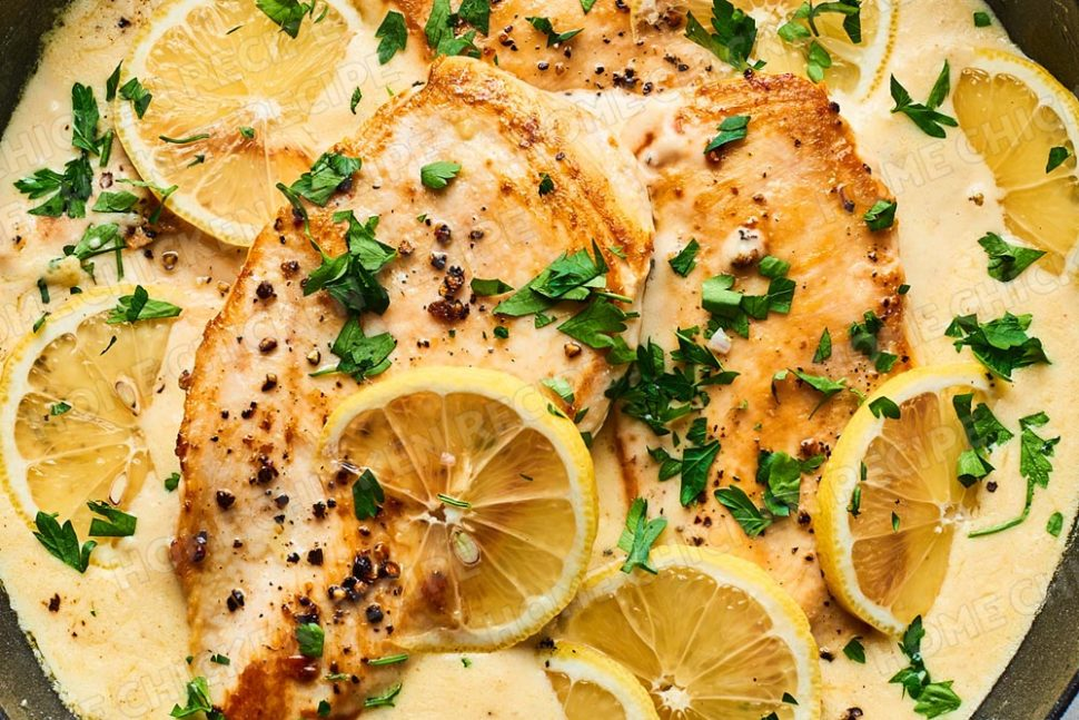 Lemon chicken with creamy butter garlic sauce